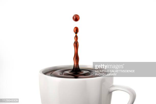 single coffee drop splash in mug, illustration - food and drink stock illustrations