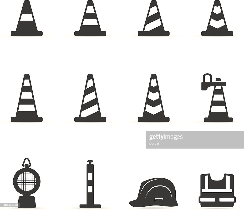 Single Color Icons - Traffic Warning Signs