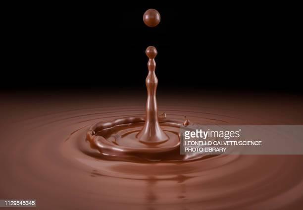 illustrations, cliparts, dessins animés et icônes de single liquid chocolate drop splash, illustration - texture douce