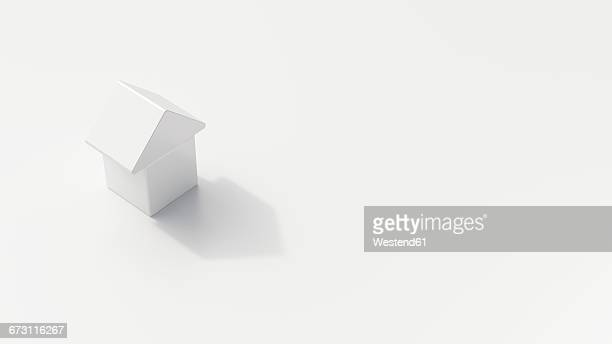 Single one-family house on white ground, 3D Rendering
