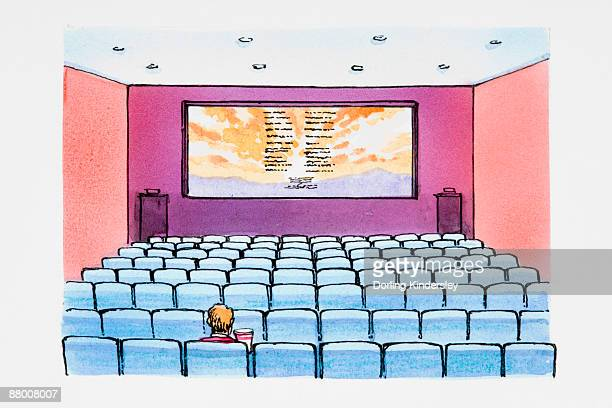 single person in cinema watching credits - one man only stock illustrations, clip art, cartoons, & icons