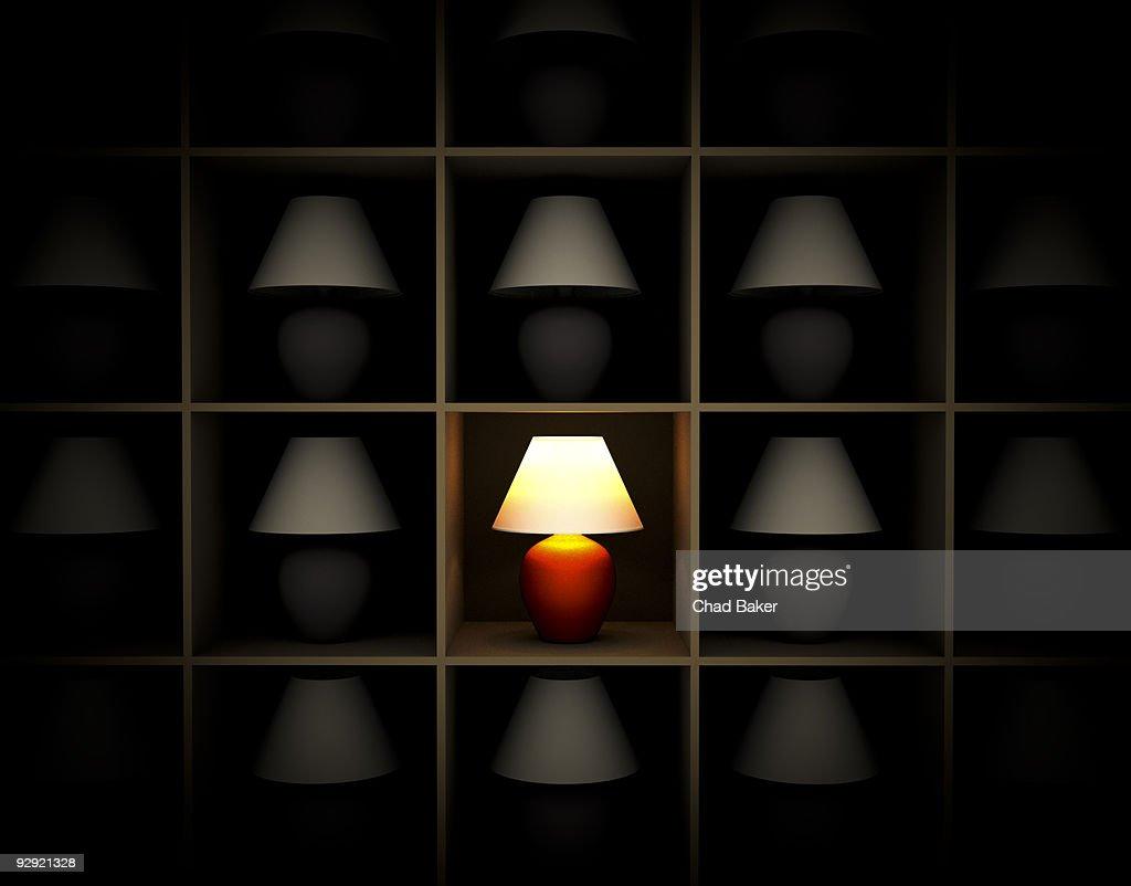 A single red lamp on a shelf : Stock Illustration