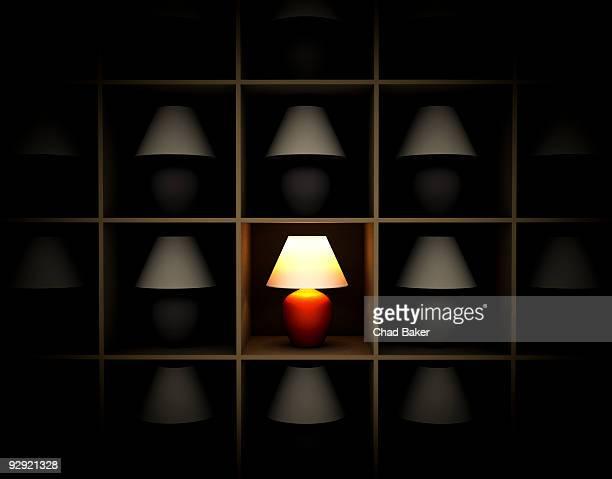 ilustrações, clipart, desenhos animados e ícones de a single red lamp on a shelf - sobressaindo nas multidões