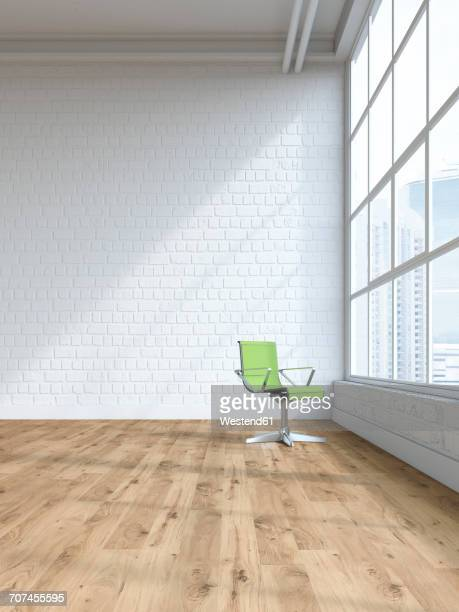 Single swivel chair in an empty loft, 3D Rendering