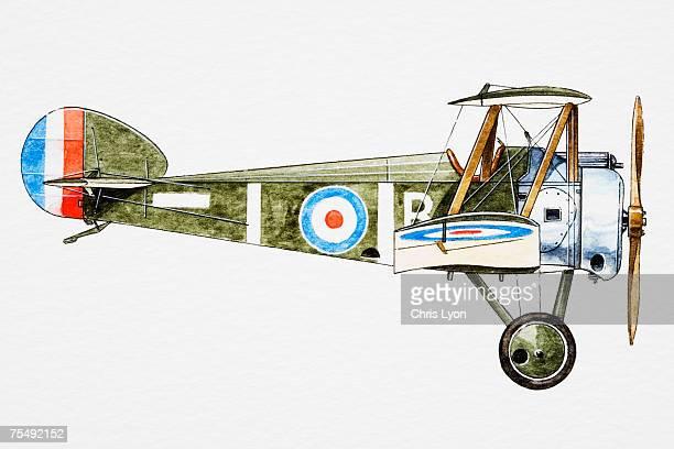 ilustraciones, imágenes clip art, dibujos animados e iconos de stock de wwi single-seat biplane - primeraguerramundial