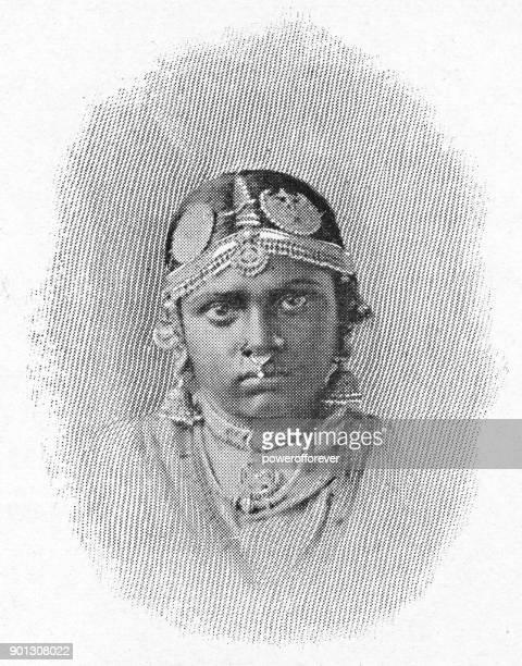 sinhalese woman - british era - nose piercing stock illustrations