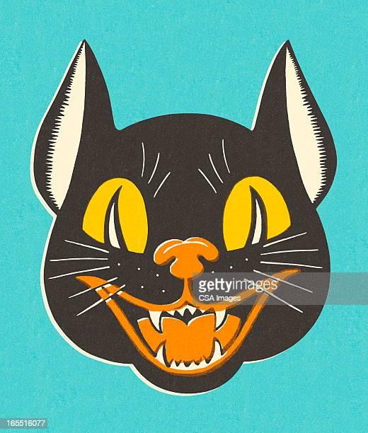 illustrations, cliparts, dessins animés et icônes de chat sinistre - chat noir