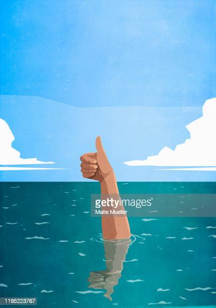 sinking hand gesturing thumbs-up in sea - unrecognisable person stock illustrations