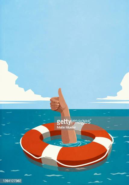 sinking man below life ring gesturing thumbs up - safety stock illustrations
