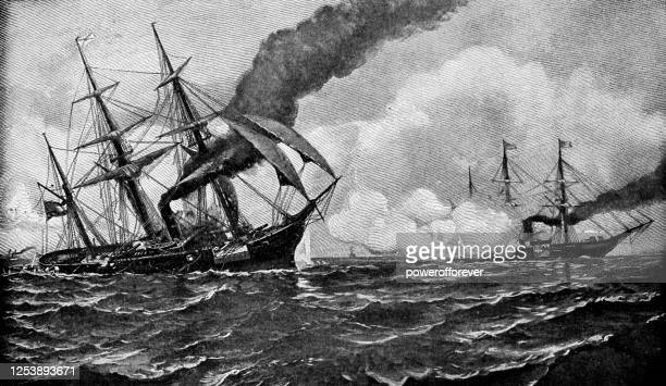 sinking of the alabama by julian o. davidson - 19th century - us military stock illustrations