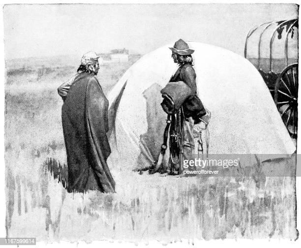 ilustraciones, imágenes clip art, dibujos animados e iconos de stock de sioux first nations people and wigwam en dakota del norte, estados unidos - siglo xix - indios americanos sioux