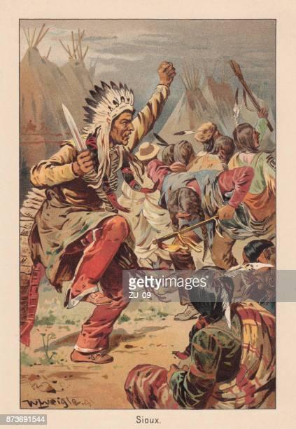ilustraciones, imágenes clip art, dibujos animados e iconos de stock de indio sioux, danza de guerra, litografía, publicado en 1891 - indios americanos sioux