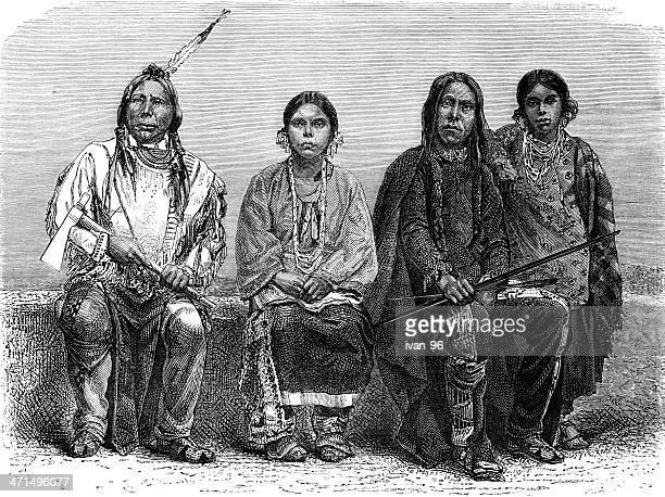 ilustraciones, imágenes clip art, dibujos animados e iconos de stock de sioux hombres y mujeres - indios americanos sioux