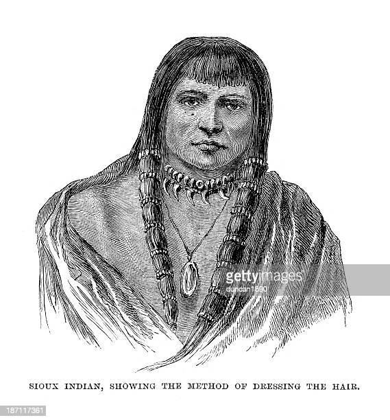 ilustraciones, imágenes clip art, dibujos animados e iconos de stock de sioux nativo americano - indios americanos sioux