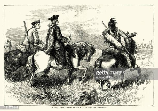sir alexander cuming visit to the cherokees, 1730 - cherokee culture stock illustrations, clip art, cartoons, & icons