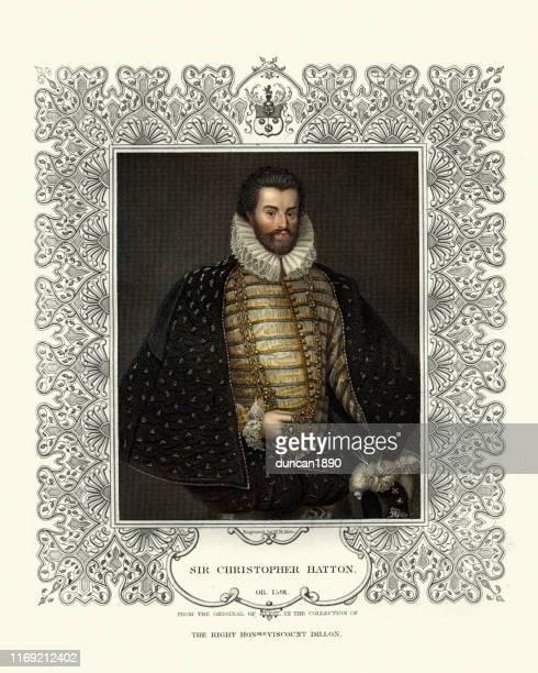 クリストファー・ハットン卿、エリザベス朝首相 - 16世紀のスタイル点のイラスト素材/クリップアート素材/マンガ素材/アイコン素材