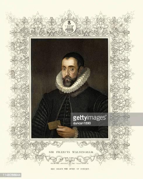 sir francis walsingham, principal secretary to queen elizabeth i - 16th century style stock illustrations