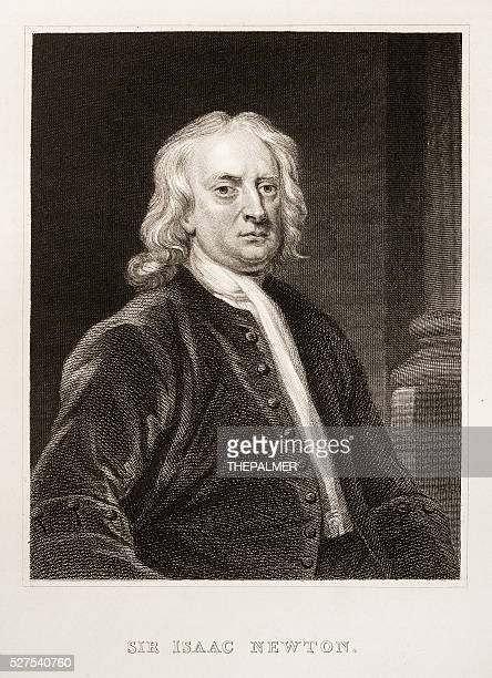 sir isaac newton engraving - physicist stock illustrations, clip art, cartoons, & icons
