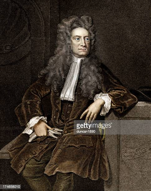 sir isaac newton - traditional clothing stock illustrations