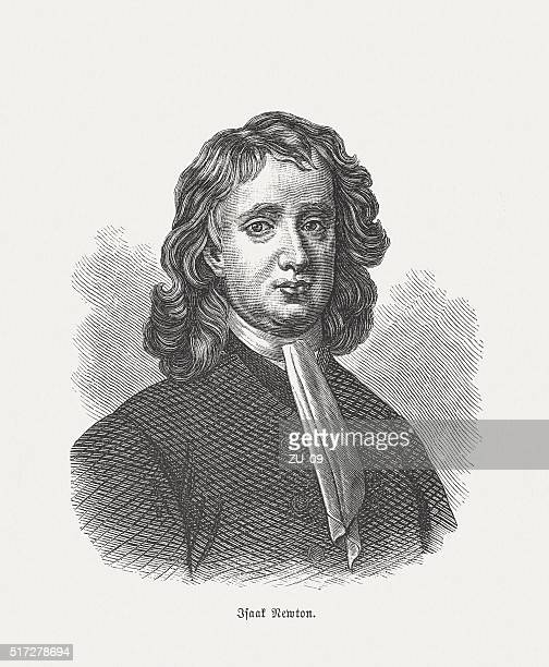 sir isaac newton (1642-1726/27), wood engraving, published in 1880 - physicist stock illustrations, clip art, cartoons, & icons