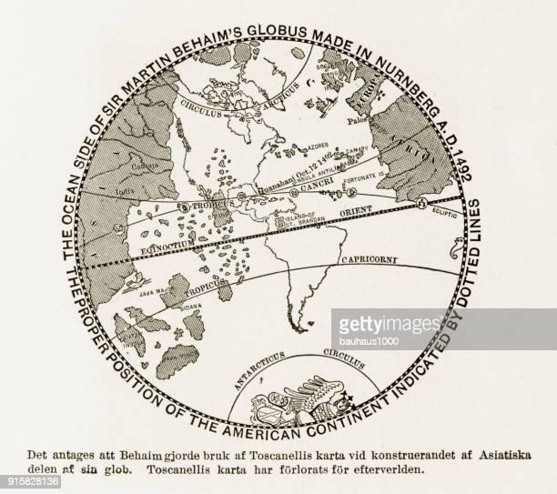 sir martin behaim's globe of the american continent engraving,1492 - circa 15th century stock illustrations, clip art, cartoons, & icons