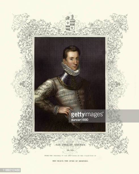 sir philip sidney, elizabethan, poet, courtier, scholar, and soldier - neck ruff stock illustrations