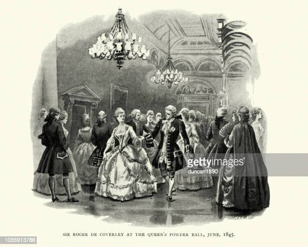 sir roger de coverley auf königin victorias pulver ball, 1845 - ballsaal stock-grafiken, -clipart, -cartoons und -symbole