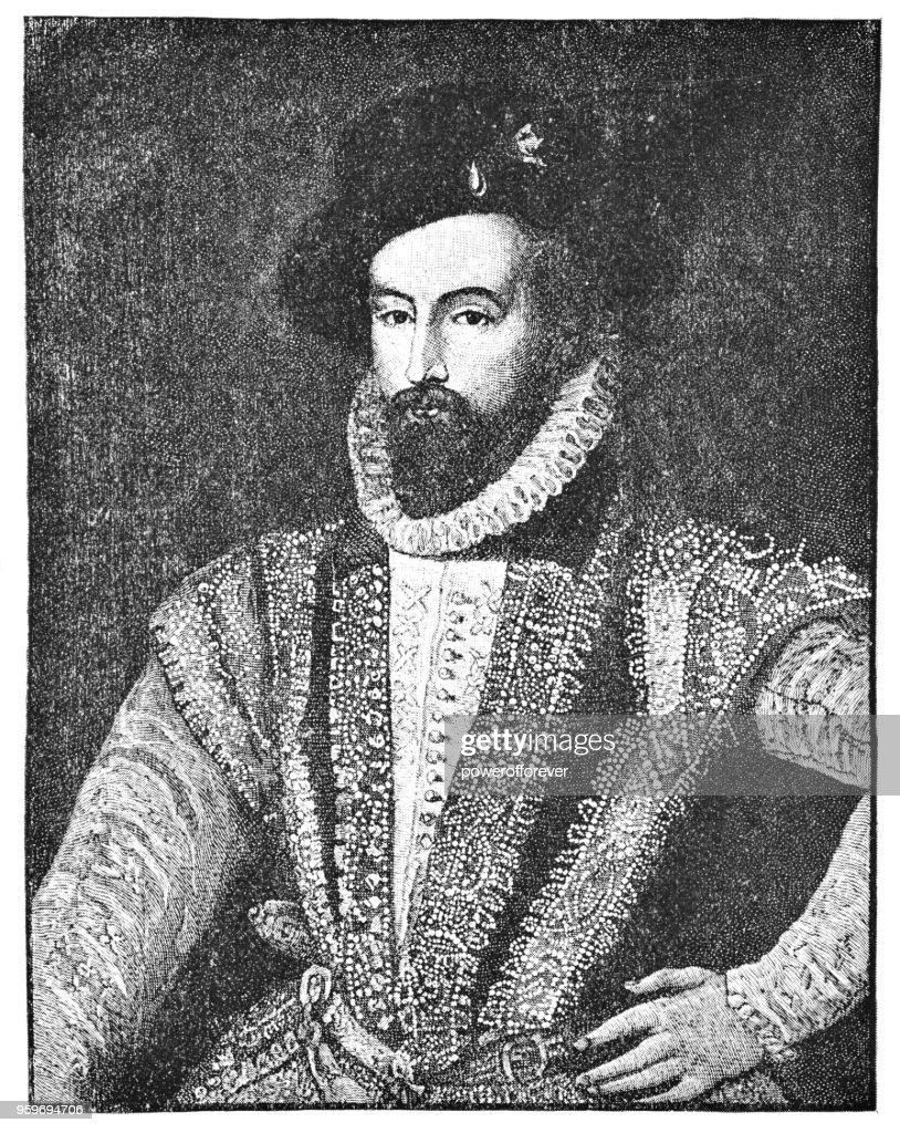 Sir Walter Raleigh und sein Sohn von unbekannten Künstler - 17. Jahrhundert : Stock-Illustration