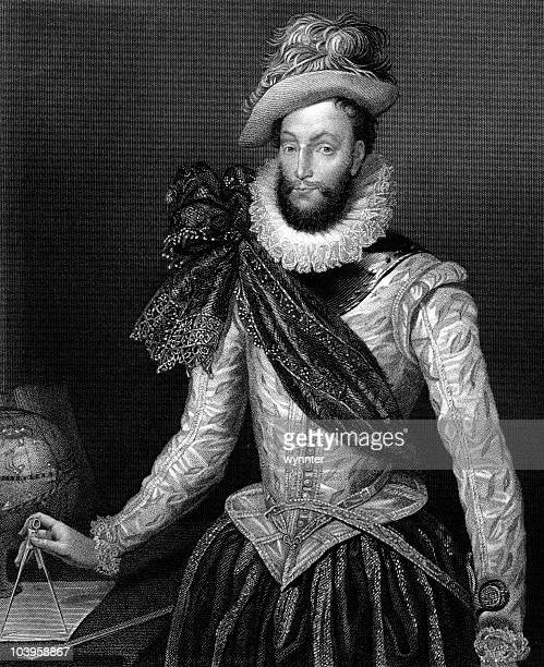sir walter raleigh - neck ruff stock illustrations
