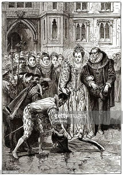 Sir Walter Raleigh, Queen Elizabeth I and a cloak