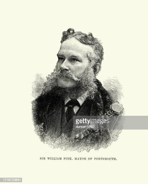 stockillustraties, clipart, cartoons en iconen met sir william pink, burgemeester van portsmouth, 19e eeuw - burgemeester