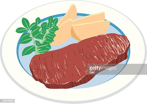 sirloin steak with vegetables, close-up, illustration - sirloin steak stock illustrations, clip art, cartoons, & icons