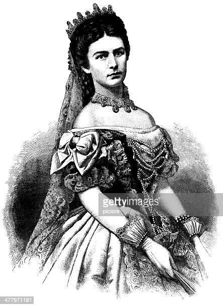 ilustraciones, imágenes clip art, dibujos animados e iconos de stock de sissi, empress of austria, 1871. - emperatriz