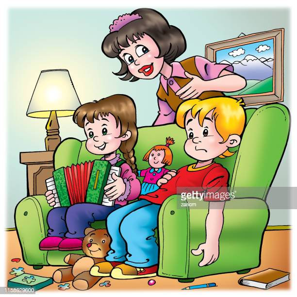 sister and unhappy brother with mom. - family fighting cartoon stock illustrations