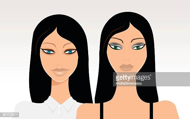 sisters - hair color stock illustrations, clip art, cartoons, & icons