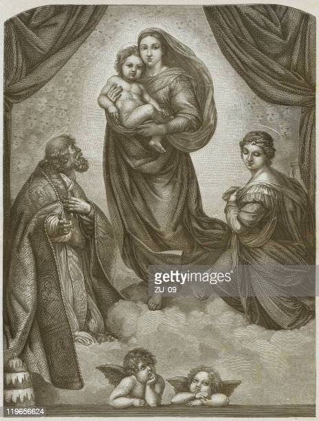 sistine madonna by raphael (1483-1520), wood engraving, published in 1877 - sistine madonna stock illustrations