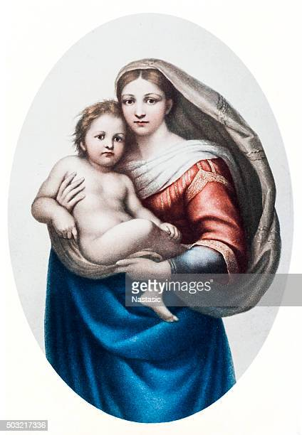 sistine madonna - sistine madonna stock illustrations