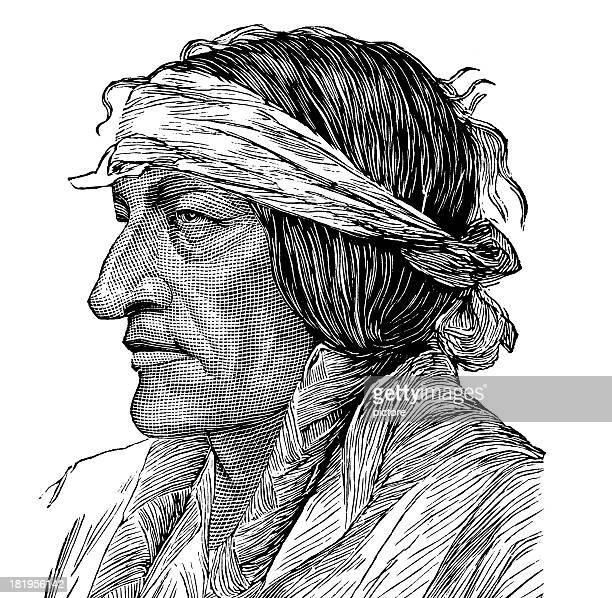 ilustraciones, imágenes clip art, dibujos animados e iconos de stock de toro sentado - indios americanos sioux