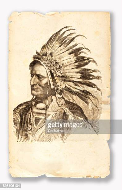 sitting bull native american tribal chief 1881 - indigenous north american culture stock illustrations, clip art, cartoons, & icons