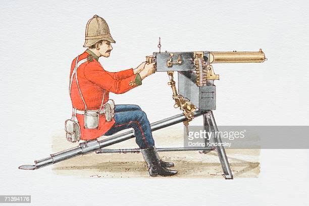 sitting soldier loading 1885 maxim machine gun, side view. - machine gun stock illustrations, clip art, cartoons, & icons
