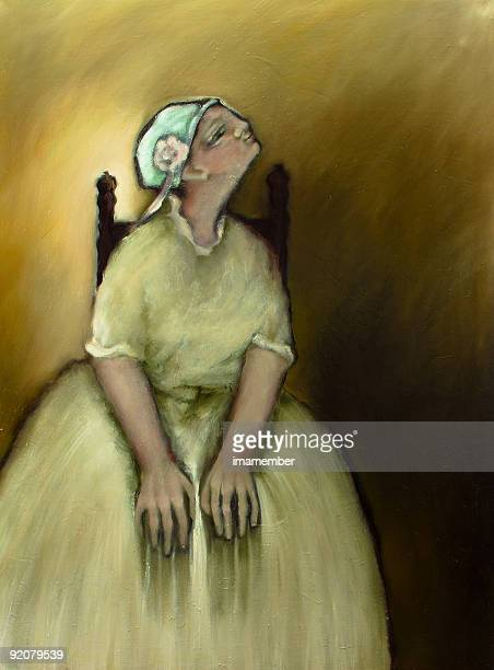 Sitting young woman in white dress, oil painting
