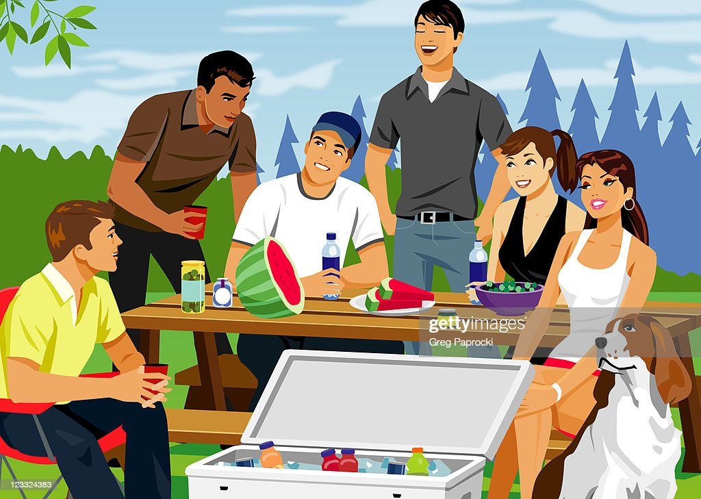 Six people having picnic : Stock Illustration