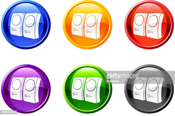 Six round multicolored icons with speaker pictures on each.