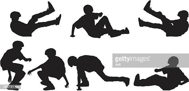 skateboarder kid falling and getting up - skidding stock illustrations, clip art, cartoons, & icons