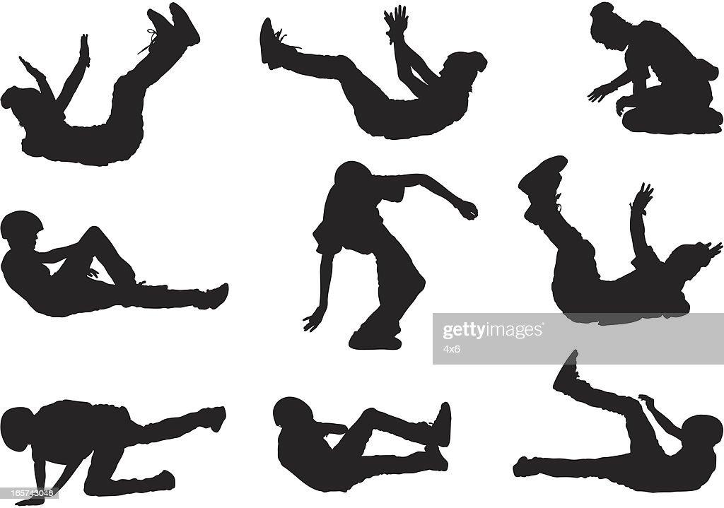 Skateboarders falling crash landing