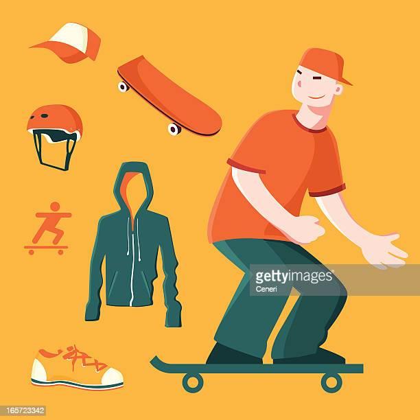 skateboarding icon set - bike helmet stock illustrations, clip art, cartoons, & icons