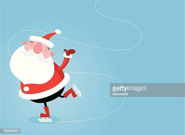 skating santa - ice skating stock illustrations