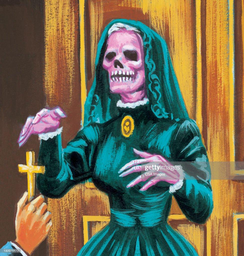 Skeletal Female Corpse : stock illustration