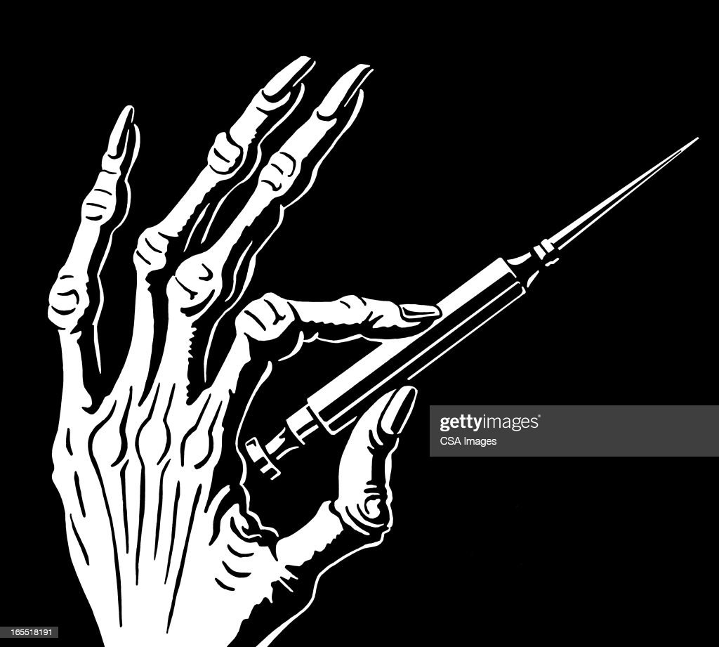 Skeletal Hand With Syringe Stock Illustration Getty Images
