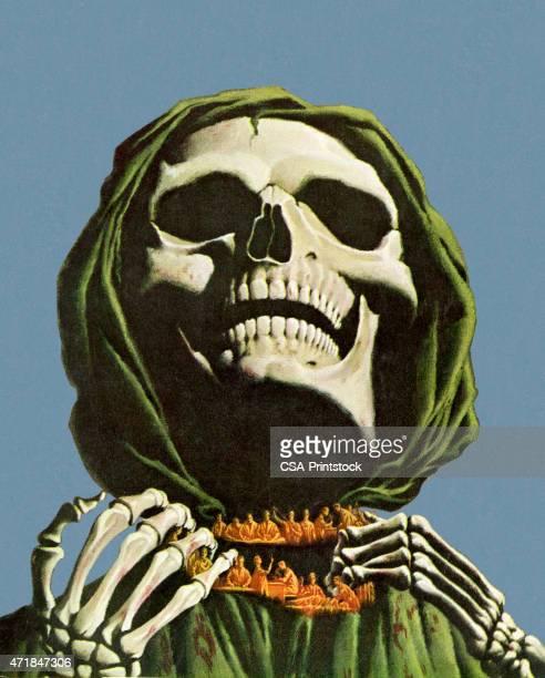 ilustraciones, imágenes clip art, dibujos animados e iconos de stock de esqueleto clutching cuello - la muerte